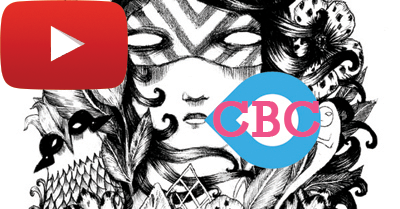 YT and CBC coming out of the mouth of a mystical black and white witchy creature